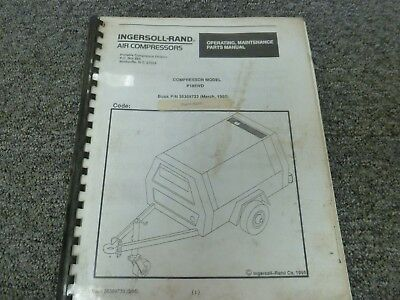 Ingersoll Rand P185wd Air Compressor Parts Catalog Operator Maintenance Manual