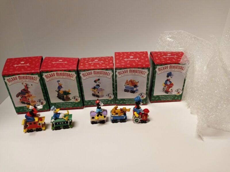 Hallmark Merry Miniatures ~ DISNEY MICKEY EXPRESS TRAIN SET ~ Complete Set 1998