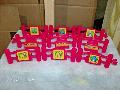 Fisher Price Little People -- Red Fence LOT OF 9 Pieces Zoo Farm Playset