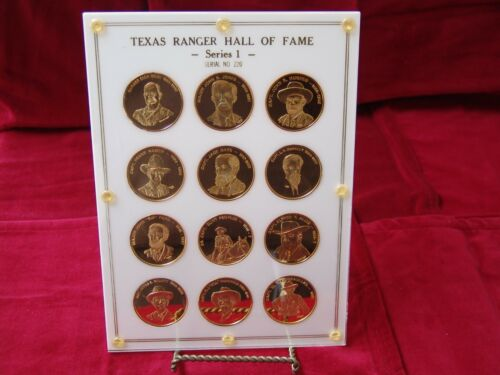 12 Texas Rangers Hall Of Fame .999 Silver w/ 24K Gold Plate Commemorative Coins