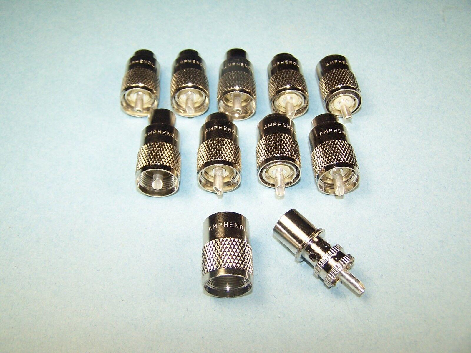 10 Amphenol Pl-259 Coax Connectors 83-1sp-15rfx Rg8, 213,...