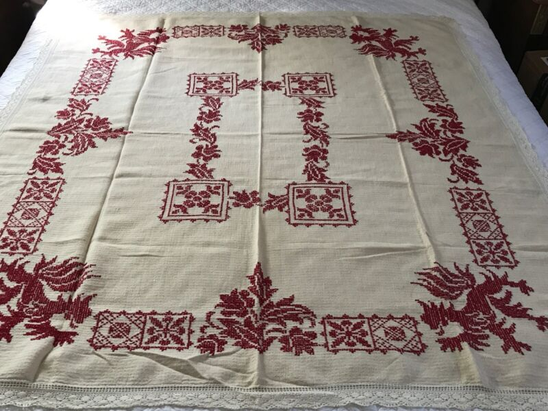 Antique 19thc Handmade Cross Stitch Embroidery Lions &Ornament Linen Tablecloth