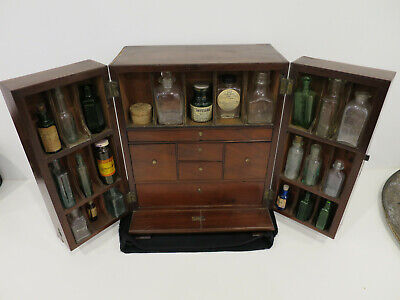 Antique medical chest medicine cabinet bottles scales potion apothecary mahogany