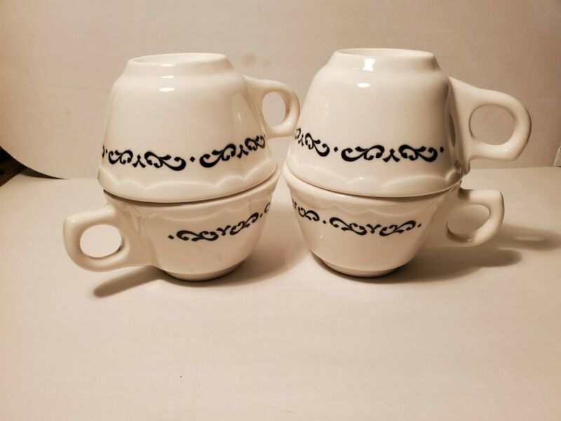 (4) Buffalo China Coffee/Tea Mugs- Black & White- Restaurant Ware USA Scalloped