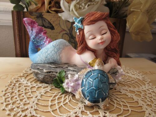 """Fairy Garden 31/2 x 5 3/4"""" mermaid figurine resting on Driftwood with Turtle NEW"""