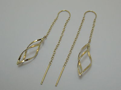 14k Yellow Gold Fancy Threader Dangle Earrings Style 801 Made In USA