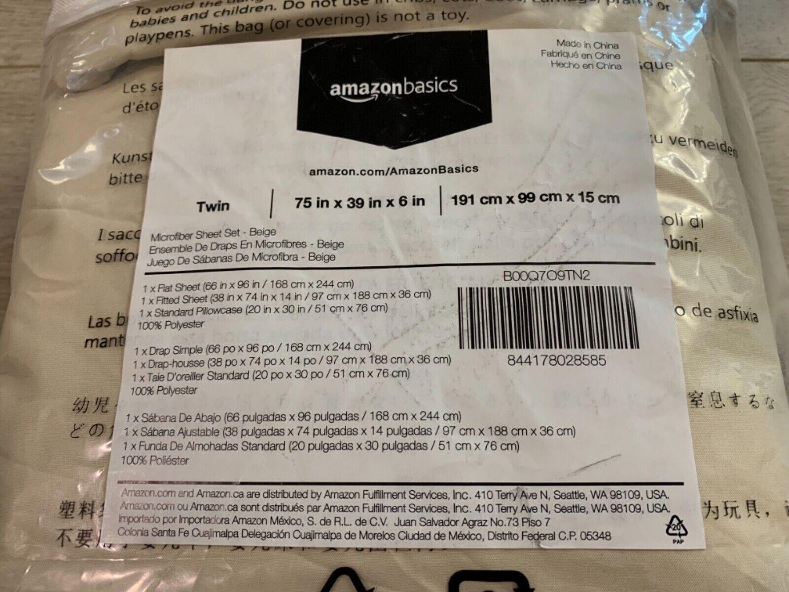 AmazonBasics Microfiber Twin Bed Sheet Set Size Beige Pillow