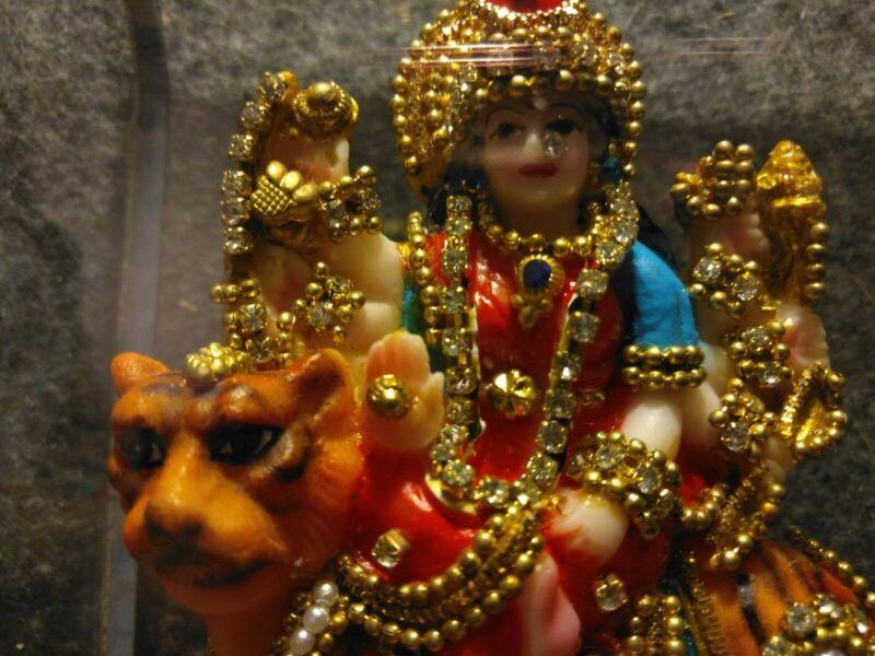 DURGA STATUE Hindu Divine Mother Goddess HIGH QUALITY Multi Color Resin Deity