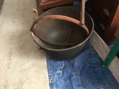 Vintage Antique Large Cast Iron Cauldron Pot Kettle Stand Garden Planter  (Large Cauldron)