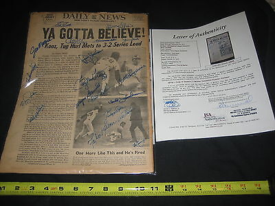 1973 Mets National League Champions  19  Team Signed Daily News Paper Jsa Loa