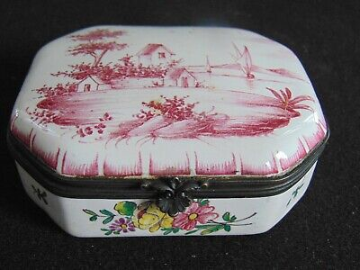 ANTIQUE HAND PAINTED VEURE PERRIN FRENCH FAIENCE BOX - TABLE SNUFF / TRINKET