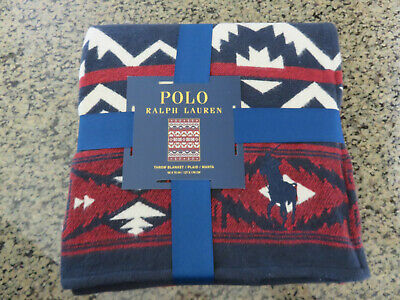 Polo RALPH LAUREN Throw Blanket Aztec Beacon Southwestern Big Pony 50x70 inch
