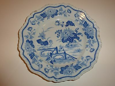 Vintage Hicks   Meigh Stone China No  21 Plate  Blue White Florals Flaws
