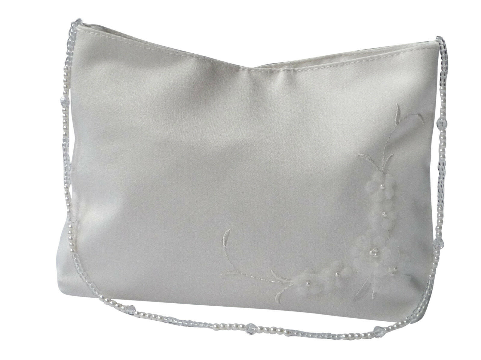 HBH Brautmoden Brauthandtasche aus Satin mit Blumen bestickt,Farbe: Ivory, Weiss