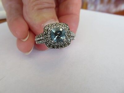 Le Vian 14K WHITE GOLD .75 CT CHOCOLATE DIAMONDS & AQUAMARINE RING SZ 9
