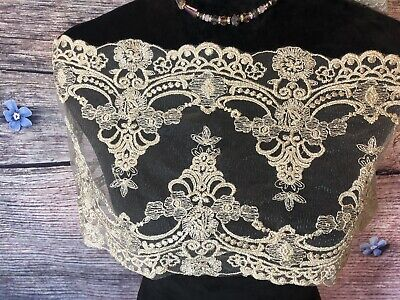 Victorian Gold Embroidery Dress lace trim. Lingerie French Bra,DIY, Wedding -