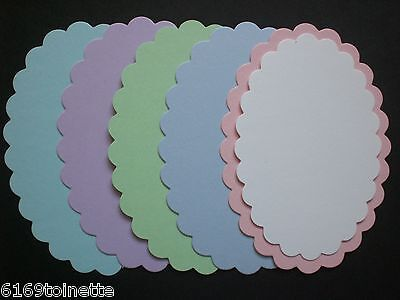 LAYERING SCALLOP OVAL Die-cuts 5 PASTELS & 5 WHITE Cardmaking/Crafts