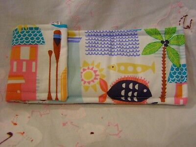 HANDMADE PADDED FABRIC SUNGLASSES / READING GLASSES CASE BEACH HUTS AND (Sunglass Hut Reading Glasses)