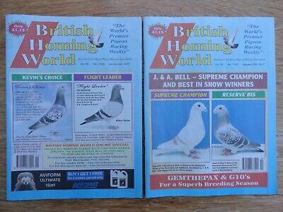 2x British Homing World racing pigeon birds magazines back issue Jan 2017