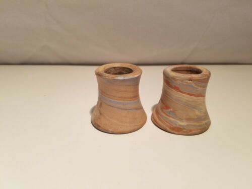 """Antique Niloak """"styled"""" Mission Swirl Pottery candle holders - NO MARKING"""