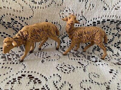 "Fontanini by Roman Sheep Figurines 2.75"" Long & 3"" L Italy Nativity SET OF 2 ct2"