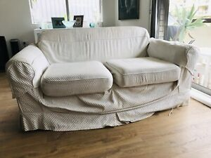 White fabric sofa couch lounge