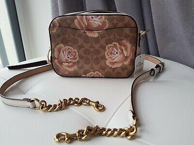 BNWT Coach Tan Chalk Signature Rose Print Camera Bag Crossbody model 31695