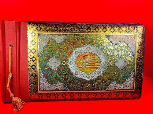 RARE ANTIQUE PERSIAN QAJAR INLAID MARQUETRY PHOTO ALBUM ENAMEL METAL OVERLAY