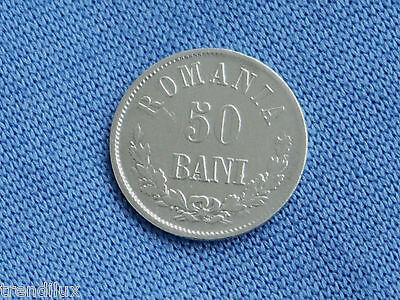 Rumänien 50 Bani 1873 Silber selten