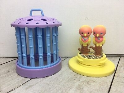 Vintage Littlest Pet Shop Lovebirds Yellow 1992 Kenner Love Birds Cage