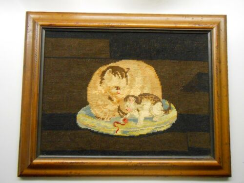 Vintage Petite Needlepoint Framed Art - Mama Cat & Kitten - Excellent Condition