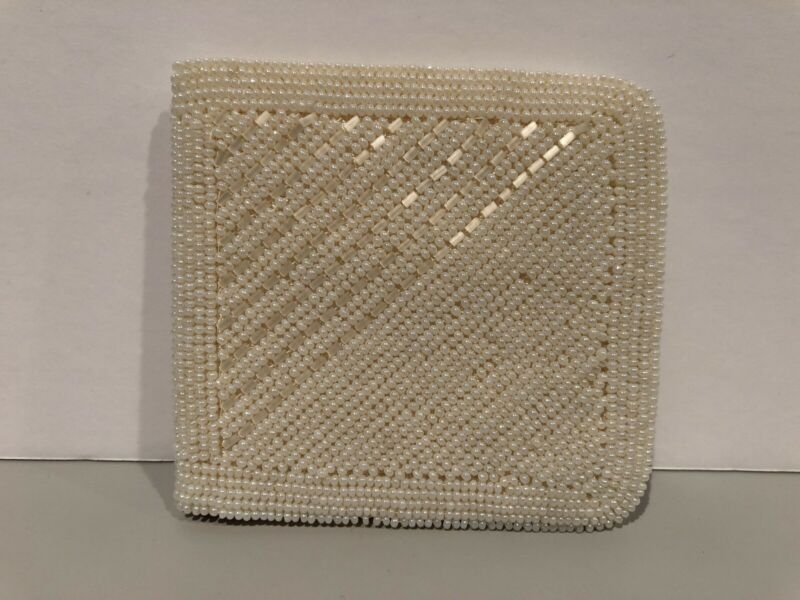Beaded Wallet Made in Japan Evening Coin Purse Ivory Beads Vintage Hand Made!