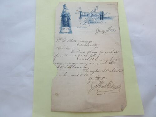 Antique Letter from the Inter-Ocean Hotel Cheyenne, Wyo. 1893