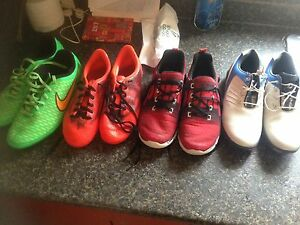 Boys soccer cleats, runners and golf shoes