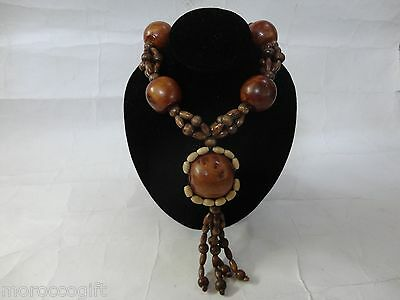 Berber Moroccan Wooden Artisan Thuja Wood Necklace