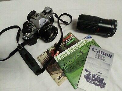 Canon AE-1 Program 35mm SLR Film Camera 50mm 1:1.8 with 80-200mm Zoom Lens Kit