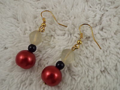 Frosted Acrylic & Red Glass Pearl Bead Goldtone Pierced Earrings (C28)