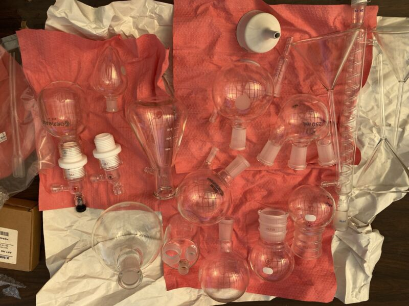 chemglass 24/40 Reactors, Fittings, One Condenser, And Other Flasks
