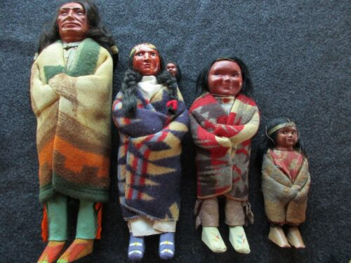 NATIVE AMERICAN INDIAN , PRE WWII ERA, SKOOKUM FAMILY DOLL GROUP,  # BUF-01237