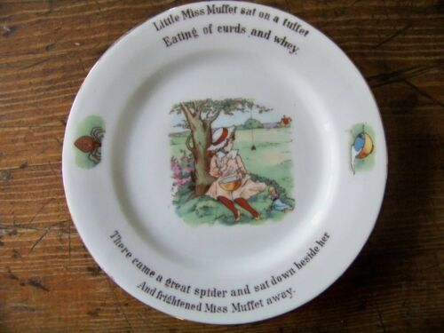 Wonderful Antique Childs Childrens Nursery Rhyme Plate Little Miss Muffet