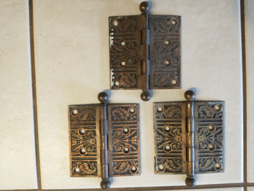 Set of Three Antique Eastlake Style Brass Cannon Ball Floral & Leaf Hinges 4X4