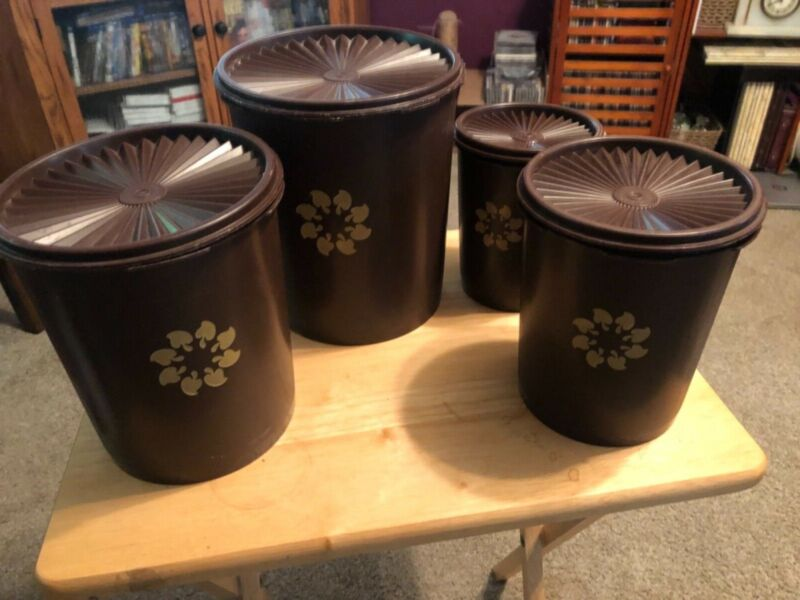 VINTAGE 8 PC Tupperware Canister Set BROWN 805, 807, 809, 811 with Original Lids