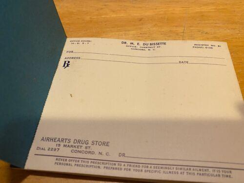 Vintage Prescription Pad – Collector's Item – Dr M E Du Bissette – Concord NC