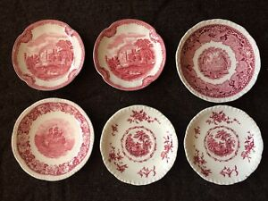 Antique pink and white china