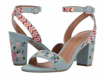Indigo Rd. Badie floral embroidered blue denim boho heels - Size 7.5 New in Box