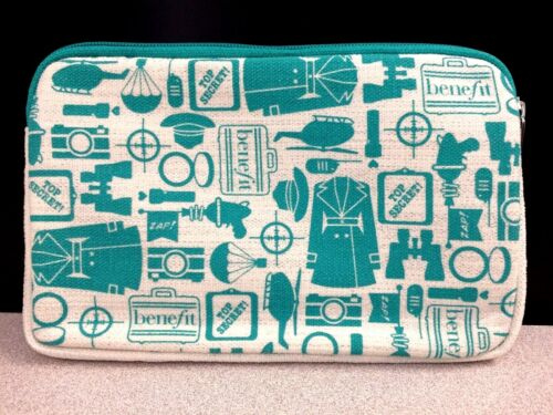 Benefit Cosmetics Teal & White Cosmetics Bag/Wallet- NEW IN FACTORY PACKAGE!