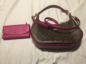 Brown and fuscia coach hobo purse and wallet