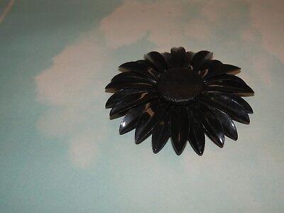 Enamel Flower Daisy - Vtg Black Enamel Daisy Flower  Large Brooch
