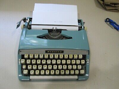 Vintage Brother Webster Portable Typewriter Blue.Seems to work.  Bell dings too.