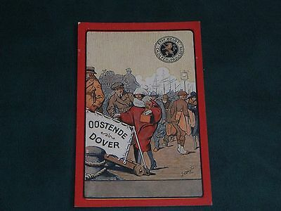 ORIGINAL BELGIUM RAILWAY SIGNED ADVERTISING POSTER POSTCARD - OOSTENDE TO DOVER.